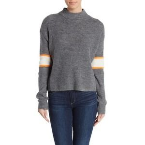 John Jenn Medium Sweater Varsity Stripe Mock 1055